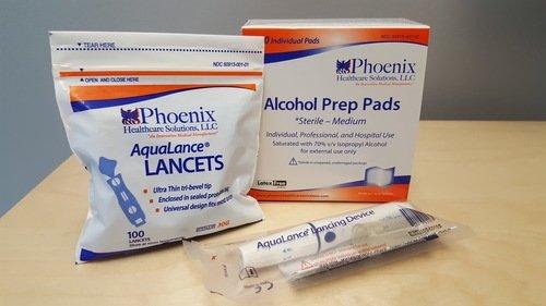 PHOENIX HC PHX1003 Kit AquaLance Lancing Device,100 30ga Lancets, 200 Prep Pads (100 Lancets & 200 Prep - Phoenix Outlets