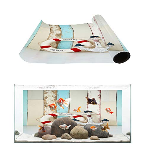 (Fantasy Star Aquarium Background Welcome Aboard Wooden Wall Anchor Fish Tank Wallpaper Easy to Apply and Remove PVC Sticker Pictures Poster Background Decoration 18.4