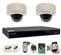 GWSecurity 4CH400WHD 4 Channel DVR + 2 x 1000TVL (720P) Vari-Focal Zoom 147 feet IR Outdoor / Indoor Security Camera System with Pre-Installed 500GB Hard Drive