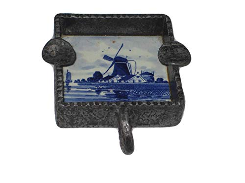 - Delft Holland Vintage Handpainted Porcelain & Heavy Cast Metal Handled 3x3 Inch Ashtray