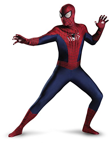 Amazing Spiderman 2 Costumes (Disguise Men's Marvel The Amazing Movie 2 Spider-Man Theatrical Adult Costume, Blue/Red/Black, X-Large/42-46)