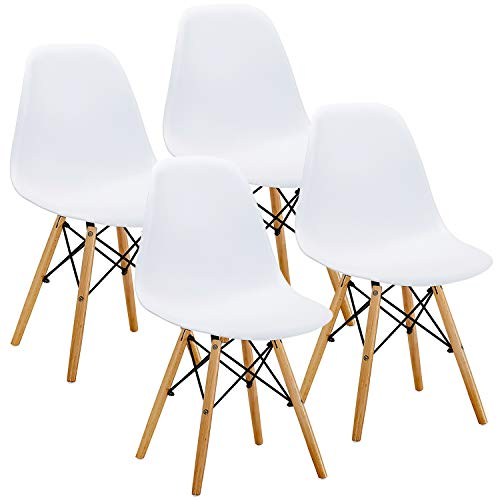 VECELO Mid Century Modern Eames Style Dining Chair Side Chairs with Natural Wood Legs (Set of 4),Easy Assemble for Kitchen Dining Room,Living Room,Bedroom(White)