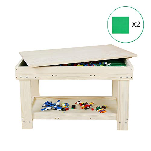 YouHi Kids Activity Table with Board for Bricks Activity Play Table (Wood - Older Lego For Table Kids