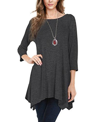 Urban CoCo Women's 3/4 Sleeve Comfy Tunic Tops Flare T Shirts (M, Dark Shadow)