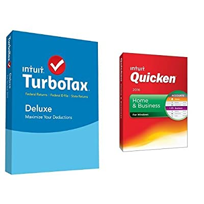 TurboTax Deluxe 2015 Federal + State Taxes + Fed Efile Tax Preparation Software PC/Mac Disc with Quicken Home & Business 2016 PC Disc