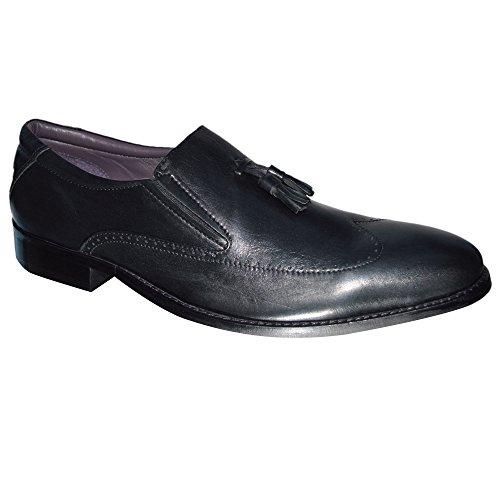 Gucinari Pantofola In Pelle Pantofola Nappa Da Uomo Scarpe Inglesi Taglia 7-11 - Nera, 40 Eu