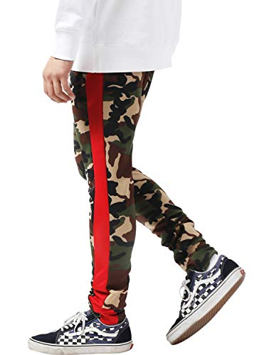 (Ma Croix Men's Camo Stripe Track Pants with Ankle Zipper (X-Large, tpt450b_Green camo/red))