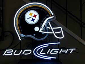 Steelers / Bud Light 14x17 Handmade Glass Tube Neon Light Sign at Steeler Mania