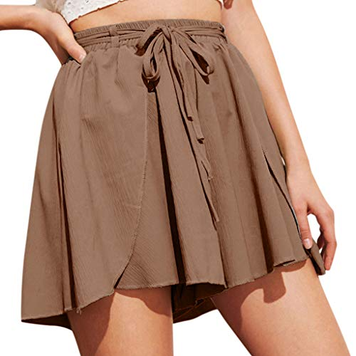 (JOFOW Shorts Womens Solid Loose Swing Tie Strappy High Waist Mini Pants Drawstring Comfy Pajamas Bottom Casual Fashion Summer (3XL,Brown))