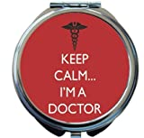 Rikki Knight Keep Calm I'm a Doctor Red Color Design Round Compact Mirror