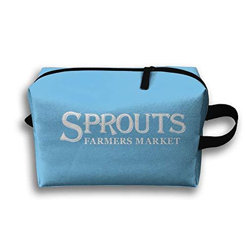 Sprouts Farmers Market Cosmetic Bags Makeup Organizer Bag Pouch Zipper Purse Handbag Clutch Bag