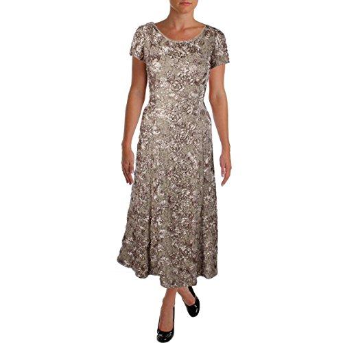 (Alex Evenings Women's 14P Long A-Line Rosette Dress with Short Sleeves Sequin Detail, Champagne, 14P)
