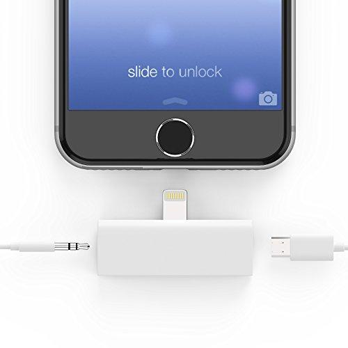 esorio® Lightning zu 3.5 Klinkenbuchse AUX Adapter inkl. MicroUSB Anschluss in weiss