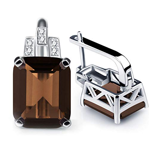 A ANGG 8.2ct Natural Smoky Quartz Clip On Earrings 925 Sterling Silver Jewerly For Women ()