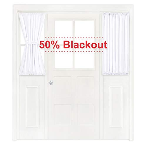 NICETOWN Pure White Sidelight Door Panel - 50% Light Blocking Side Lights Curtain and Drapery for Small Door (1 Panel, 40 inches Long)