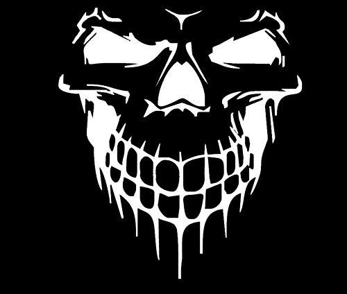 LLI Scary Skull   Decal Vinyl Sticker   Cars Trucks Vans Walls Laptop   White   5.5 x 5 in   LLI1087 (Skull Decals For Trucks)