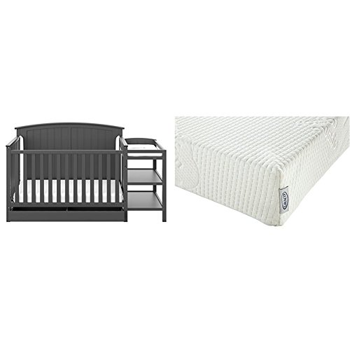 (Storkcraft Steveston 4-IN-1 Convertible Crib and Changer with Drawer, Gray with Graco Natural Organic Foam Crib and Toddler Mattress )