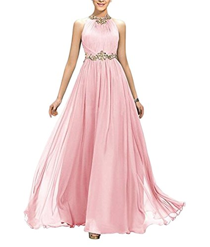Long Sleeveless Chiffon Pink BOwith Dress Dress Bridesmaid Prom Evening Beaded AwxpHnC
