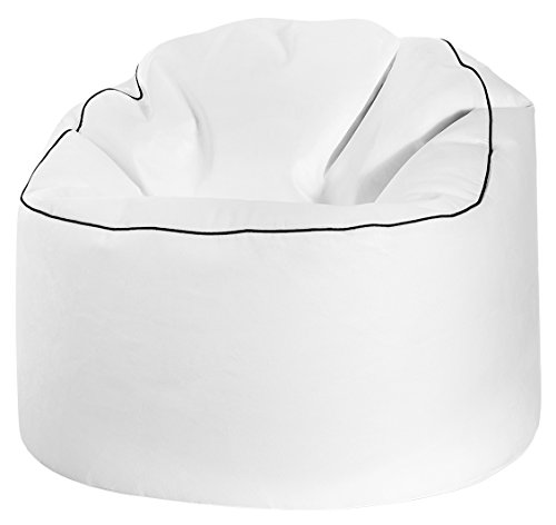 Gouchee Home Tube Cosy Collection Contemporary Faux Leather Upholstered Round Bean Bag Chair, White