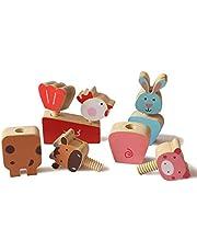 Shumee Wooden Farm Animals Twist & Turn Toy Set (2 years+) - Motor Skills & Hand-Eye Coordination