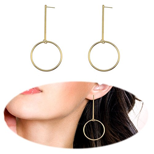 Threader Drop Earring Dangle Hoops Round Bar Studs Ear Crawler Earrings Climber Geometric Charms Jewelry Dangle Golden Plated