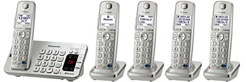 Panasonic KX-TGE275S Link2Cell Bluetooth Enabled Phone with Answering Machine, 5 Cordless Handsets, Silver (Renewed) (Best Business Answering Machine Messages)