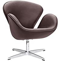 Fine Mod Imports FMI1144-dark Brown Swan Chair Leather, Dark Brown
