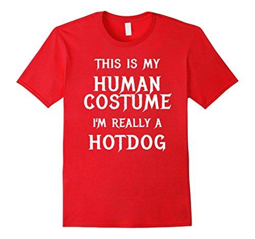 Mens Hotdog Halloween Costume Shirt Easy Funny Women Men Kids Small (Dog Costumes Diy)
