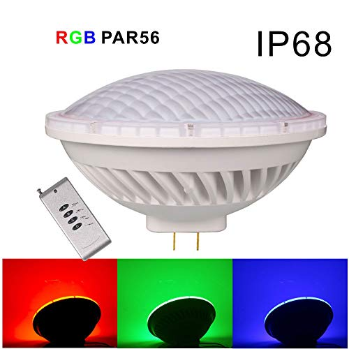 Kapata AC12V RGB Par56 LED 36W with Remote Control Replacement of 300W Halogen,GX16D Base IP68 Waterproof for Indoor/Outdoor Stage Lighting, Swimming Pool Fountains Ponds Waterfalls Pack of 1