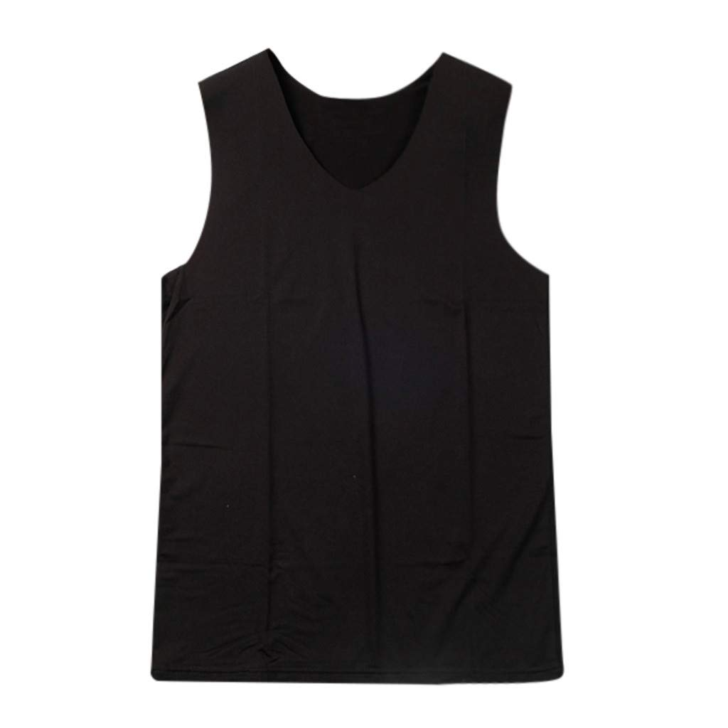 Undershirts Men Tank,Men Summer Fashion Solid Sports Casual Normcore Sleeveless Sports Waistcoat,Black,XL