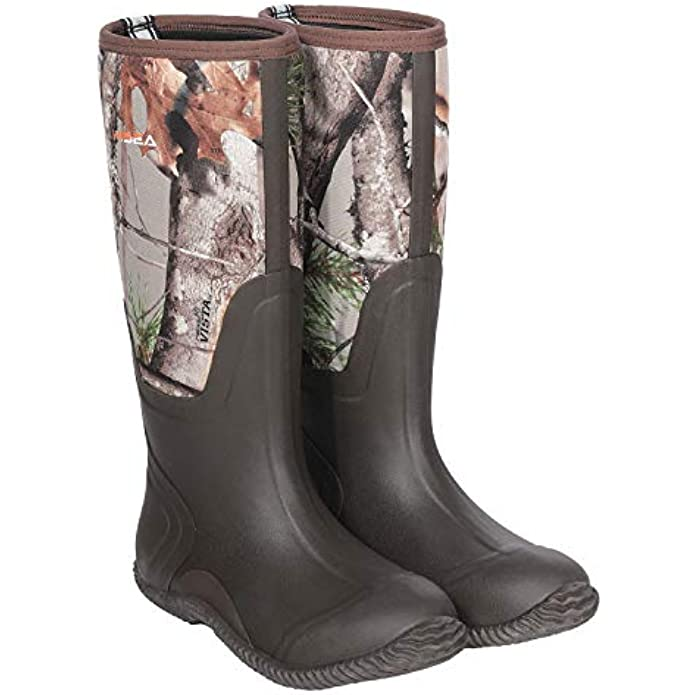 Hisea Men's Rain Boots Waterproof Durable Insulated Rubber Neoprene Outdoor Muck Hunting Boots for Winter Snow Arctic