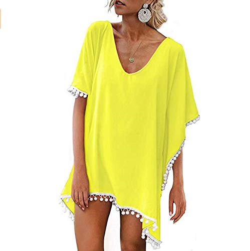 2730646f5c Beach Coverups for Women, Pom Pom Trim Kaftan Chiffon Swimsuit Cover Up,  Yellow