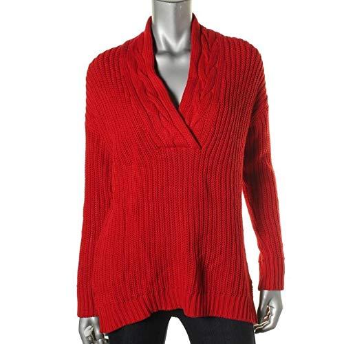 Lauren Ralph Lauren Women's RED Thick Cable Knit Shawl V-Neck Sweater SZ Petite L PL New ()
