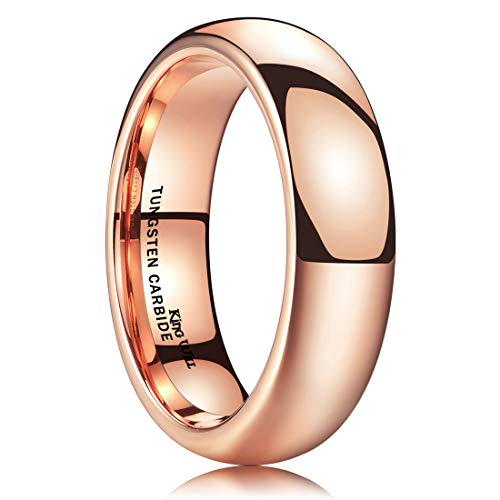 King Will Glory 6mm Rose Gold Plated High Polished Comfort Fit Domed Tungsten Ring Wedding Band 8.5