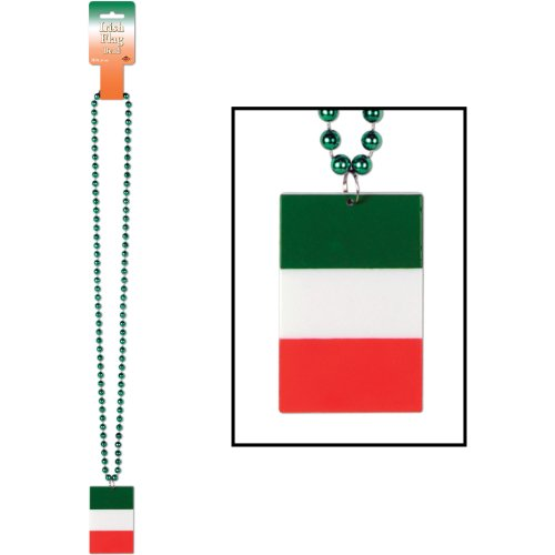 Beistle 57275 Beads with Printed Irish Flag Medallion, 36-Inch