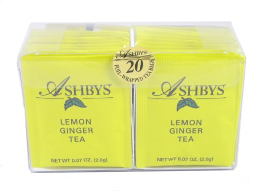 Ashbys Lemon Ginger Tea Bags, 20 Count (Cybercucina Blended Tea)