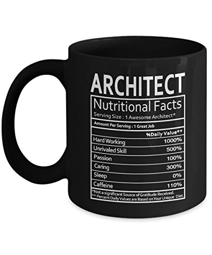 Architect Gift - Architect Nutritional Facts Mug - Architect Gag Gift for Men, Women or Friends - Funny Birthday Gifts for Architect - Gift Coffee Tea Cup Black 11 Oz