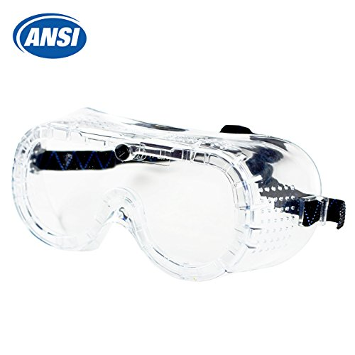 RK Safety RK-GG101 Heavy duty Industrial Protective Chemical Splash Safety Goggles, Glasses | Crystal Clear, Anti-Fog Design, High Impact Resistance | Perfect Eye Protection for Any Project ()