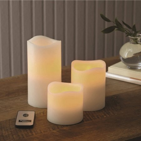 Better Homes and Gardens Flameless LED Pillar Candles 3-Pack Vanilla Scented