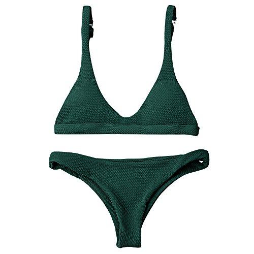 87a67f600049f ZAFUL Women Padded Scoop Neck 2 Pieces Push Up Swimsuit Revealing Thong  Bikinis V Bottom Style