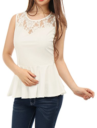 Chiffon Yoke Top (Allegra K Women's Semi-Sheer Lace-Paneled Yoke Sleeveless Peplum Tops XL White)