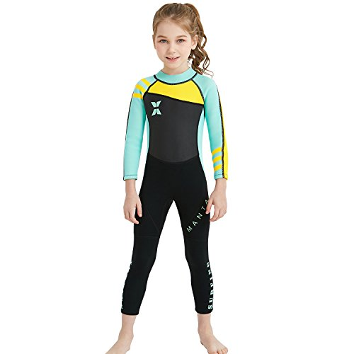 (Dark Lightning Kids Wetsuit Full Thermal Suit, Grils Neoprene One Piece Fishing Suits, 2mm Long Sleeve Swimsuit for Children Scuba Diving, Surfing, Paddling, Swimming, Blue, L)