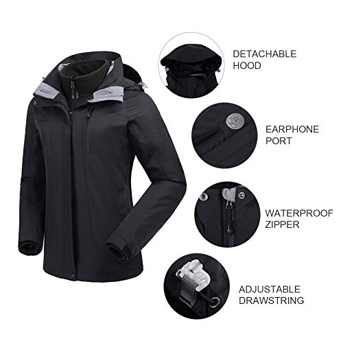 CAMEL CROWN Women's Ski Waterproof Jacket Fleece Inner Breathable Lightweight Rain Coats Hooded Windproof Softshell Snowboard Jacket for Hiking Camping Outdoor Travel by CAMEL CROWN (Image #4)