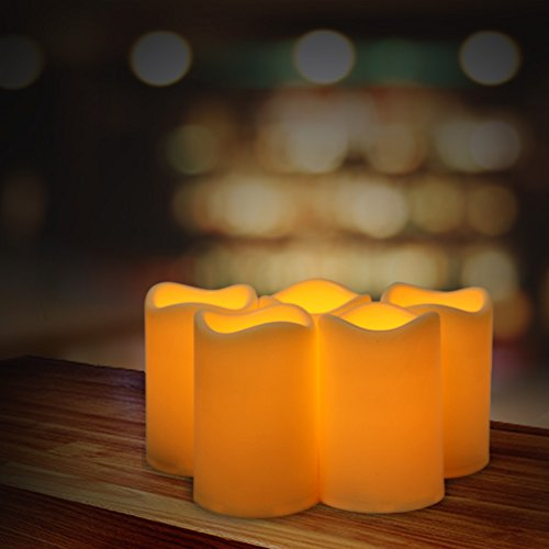 ELEOPTION Indoor/Outdoor Flameless Resin Pillar led Candle with 6 Hour Timer (5)
