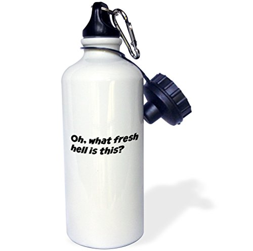 3dRose wb_202760_1 'Oh, what fresh hell is this' Sports Water Bottle, 21 oz, White