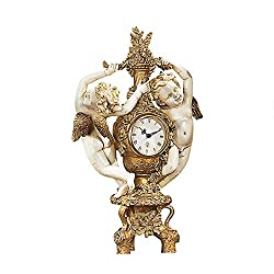 Design Toscano The Cherub's Harvest Mantel Clock, 16 Inch, Polyresin, Gold and Ivory