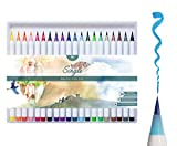 MozArt Supplies Brush Pens Set - 20 Colors - Soft Real Brush Tip Marker Pens, Durable, Premium Grade Markers - Create Watercolor Effects - Ideal for Adult Coloring Books, Manga, Comic, Calligraphy
