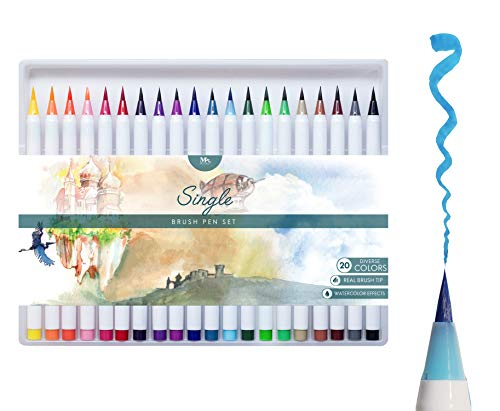 MozArt Supplies Brush Pens Set - 20 Colors - Soft Real Brush...