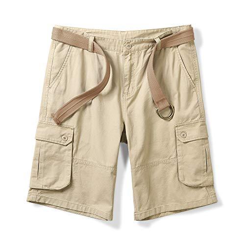 (OCHENTA Men's Classic Loose Fit Twill Cargo Shorts Khaki 40)