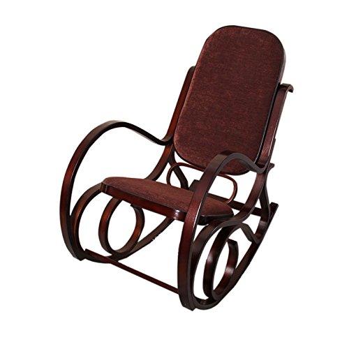 Sedia a dondolo M41 legno 90x50x90cm noce seduta tessuto marrone Mendler